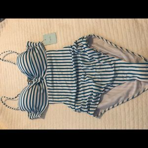 Women's Blue and White Stripe One-Piece Swimsuit
